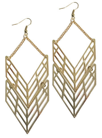 Chevron geometric laser cut out earrings