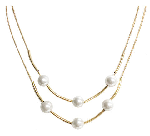 Layered pearl charm chain necklace