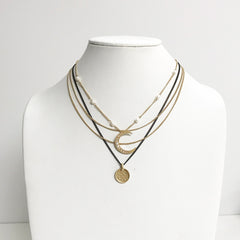 Layered dainty chain boho moon crescent necklace