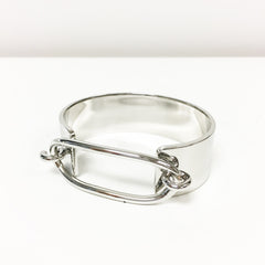 Sleek silver plated cuff bracelet with oval top