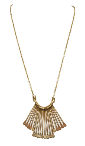 Bar fringe pendant boho necklace