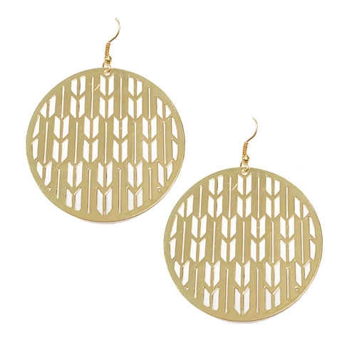Laser cut circle statement earrings