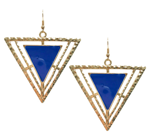 Blue triangle statement enamel earrings