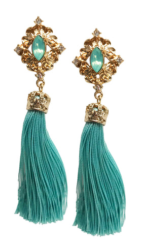 Colorful stone tassel earring