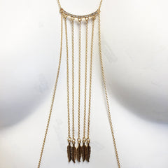 Gold plated body chain with pave bar crystal stone and feather charms