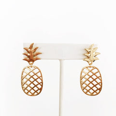 Cage pineapple gold and silver plated post back earrings