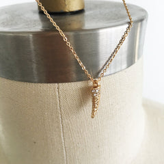 Small delicate horn pendant pave necklace