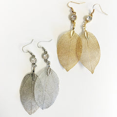 Multicharm filigree leaf charm hoop earring electroplated leaf gold dipped leaf