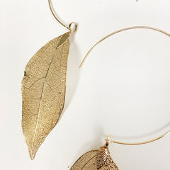 Gold dipped electroplated leaf filigree earrings with HOOP, threader earrings