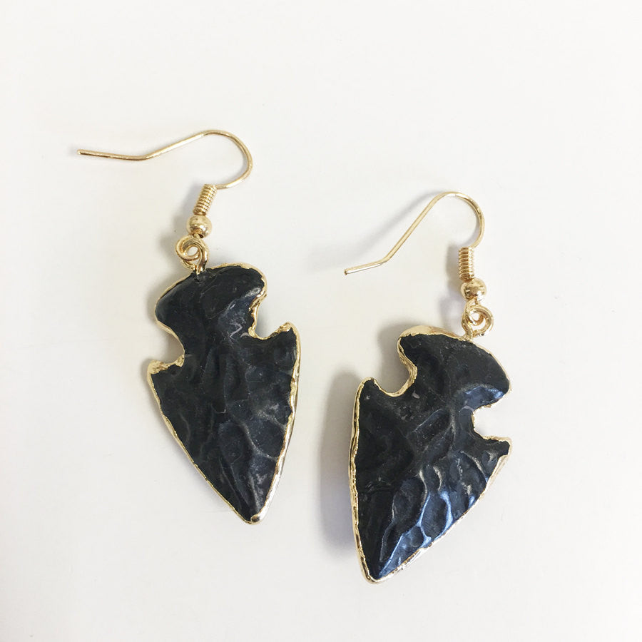 Black solid quartz arrowhead electroplated charm earring lightweight and flattering