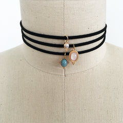 Stackable howlite charm choker necklace