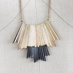 Pleated metal gold and rhodium plated pendant boho necklace