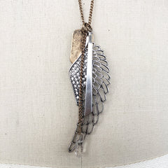 Angel Wing Multi charm flat tab necklace with resin quartz stone and crystals
