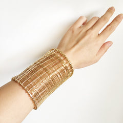 Gold and silver artisanal hand wire wrapped wide lace bracelet cuff