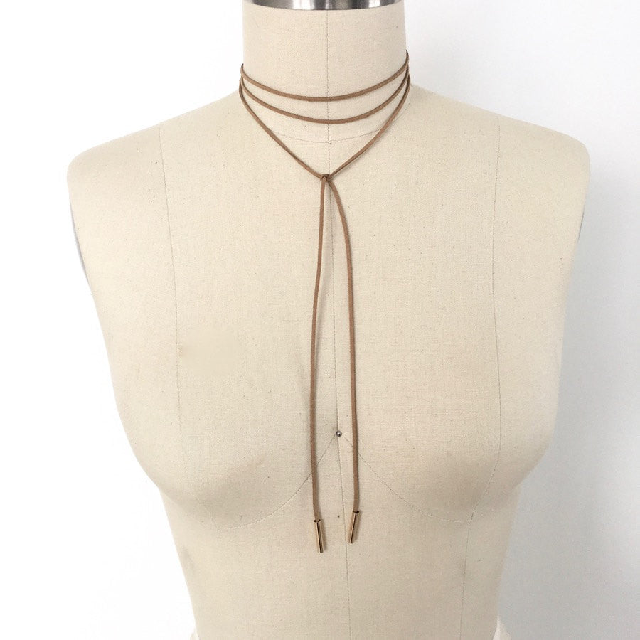 Beige brown suede wrap choker with gold square charm