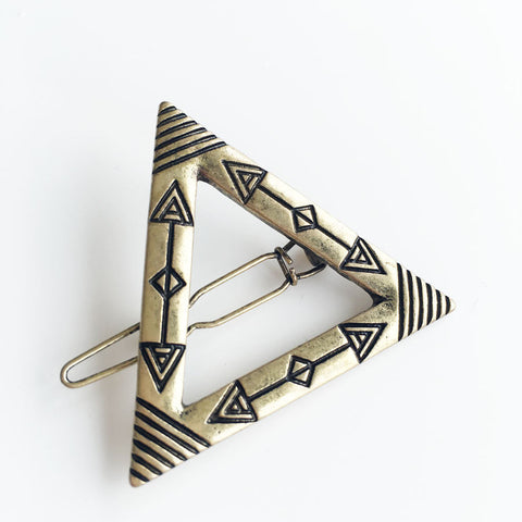 Arrow Stamped Triangle Hair Clip (antique Gold Plate)