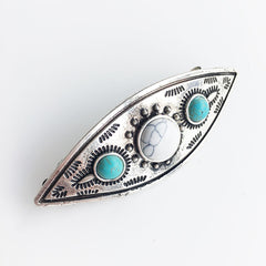 Boho Howlite French Barrette Hair Pin With Stamped Details