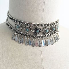 Antique Turquoise Boho Statement Choker Necklace