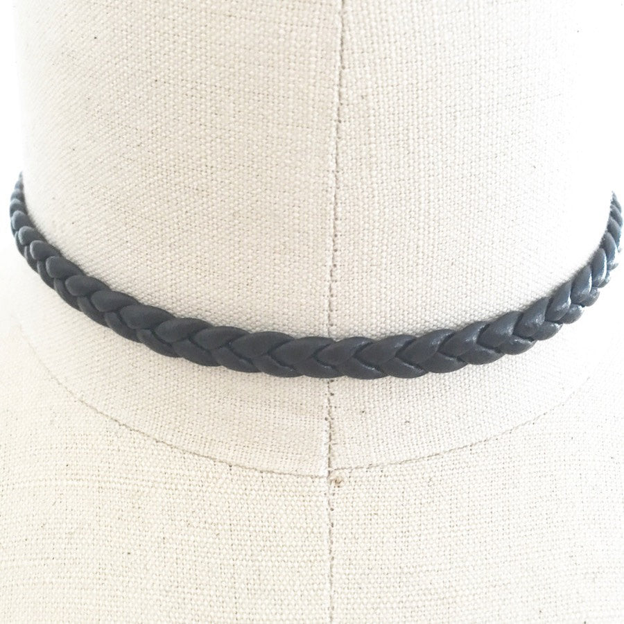 Vegan braded leather choker