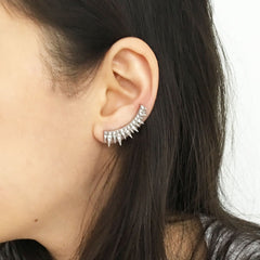 Gold pave triangle design modern ear crawlers