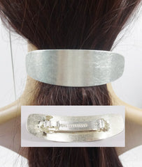 Sleek, Modern, Minimalistic Hair Barrette French Barrette In Silver Plate