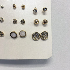 9 piece earring set with studs, CZ stones, and pave crystal