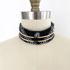 Bandana handkerchief paisley choker necklace with gold linear choker band