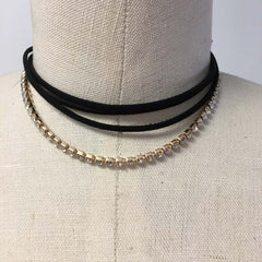 Black suede layered loose choker with gold rhinestone chain