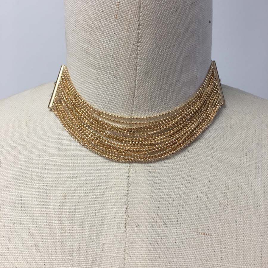 Multi chain ball chain gold plated choker necklace with black suede