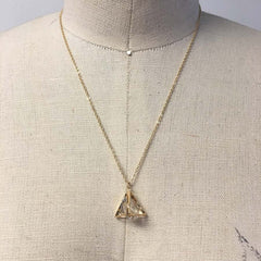 Triangle pyramid CZ stone pendant necklace in gold plate