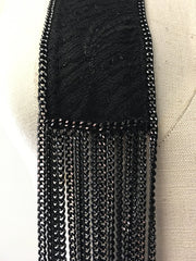 Wrap around 70's style BOHO lace chiffon scarf with chain edge and fringe
