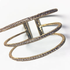 Rhinestone mesh covered cage bracelet with 3 layers