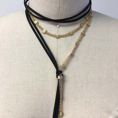 Black suede wrap choker with contrast gold plated chain
