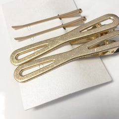 Textured geometric lienar gold plated bar hair clip set