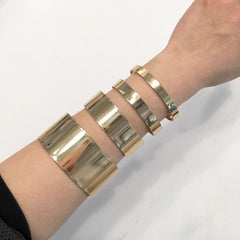 Gold sleek modern minimal 4 piece set bracelet cuff
