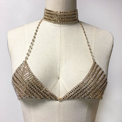 Disco bikini gold Rhinestone Chain Choker crystal bralette bra bodychain with chainmail detail