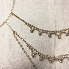 Chain bralette bodychain with rhinestone detail and choker
