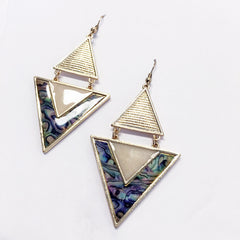 Iridescent shell earring with gold triangle geometric shape