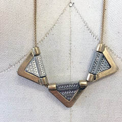 Matte gold and silver triangle aztec geometric pendant necklace with mesh chain