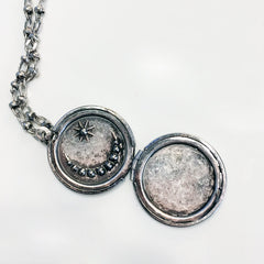 Vintage silver star and moon stone locket necklace