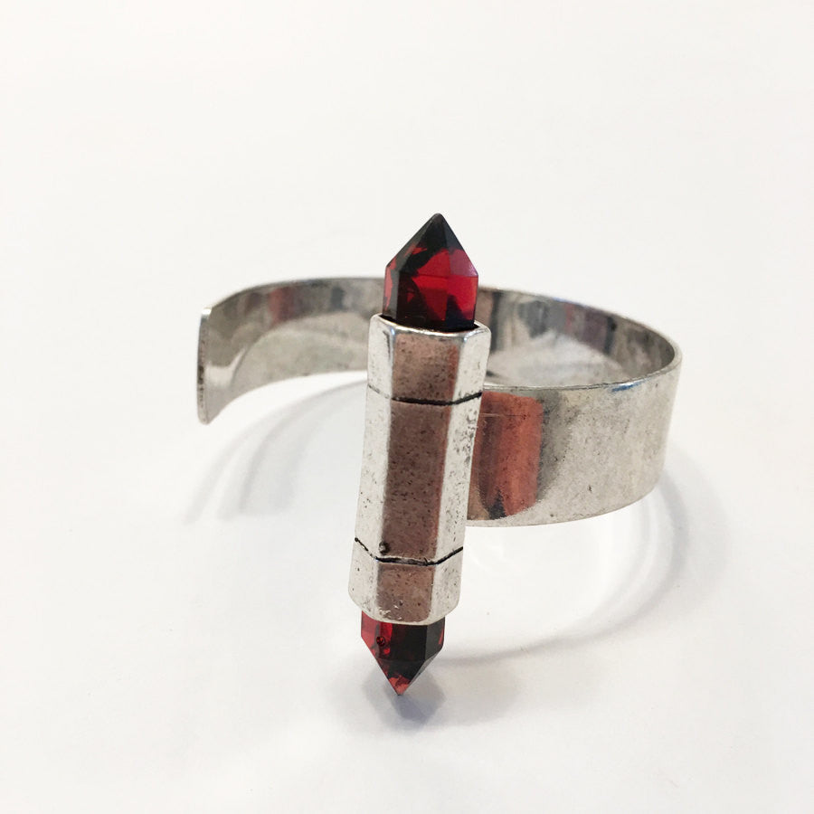 Adjustable oxidized SILVER bangle with RED Quartz point
