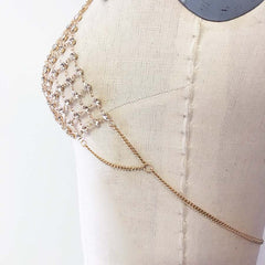 Gold Chain bralette Choker crystal bralette bra bodychain with chainmail detail statement bra