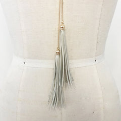 Off white cream gold chain leather tassel necklace