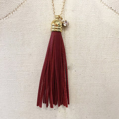 Crimson hue CZ STONE charm gold chain leather tassel necklace