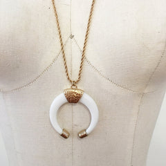 Double horn tusk pendant boho chic necklace