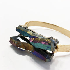 Rainbow aura quartz druzy boho bracelet with hammered gold band