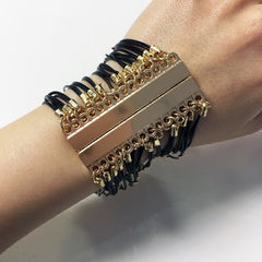 Black cord with gold bead multi chain bracelet with magnetic clip