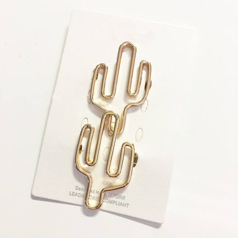 Modern and chic 2-d linear Cactus silhouette hair pin, 2 piece set.