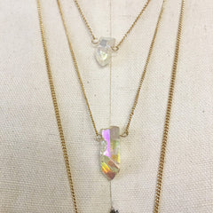 Layered boho necklace with rainbow quartz druzy charm