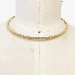 Modern minimalist sleek gold band metal mesh collar choker